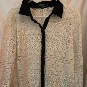 Love Stitch White Lace Blouse Size M